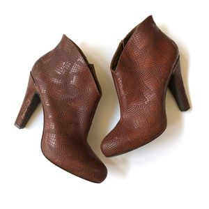 Jessica Simpson brown leather ankle booties
